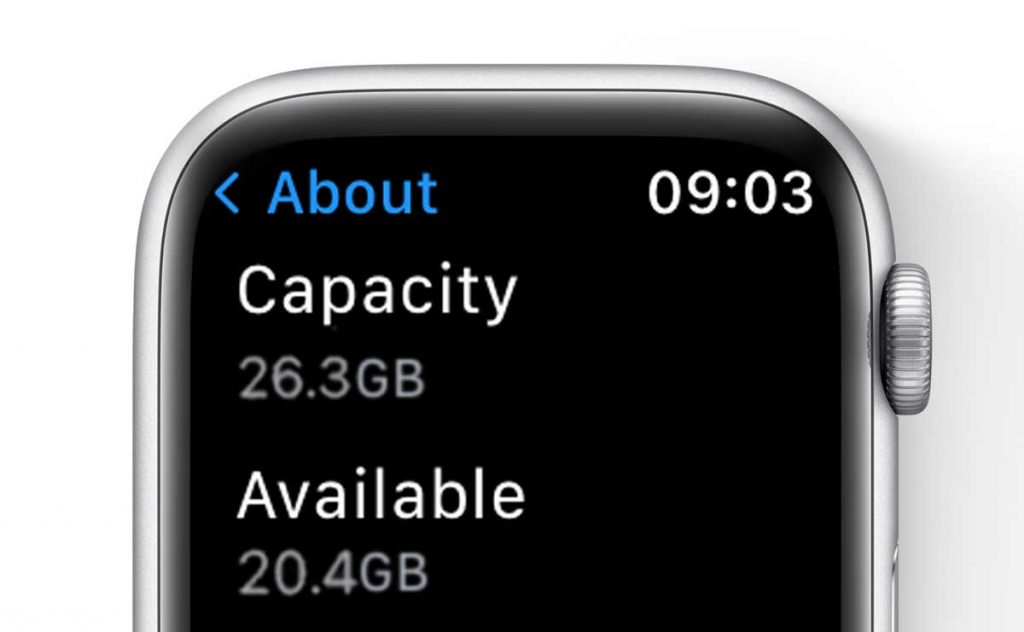 capacity and available storage on Apple Watch