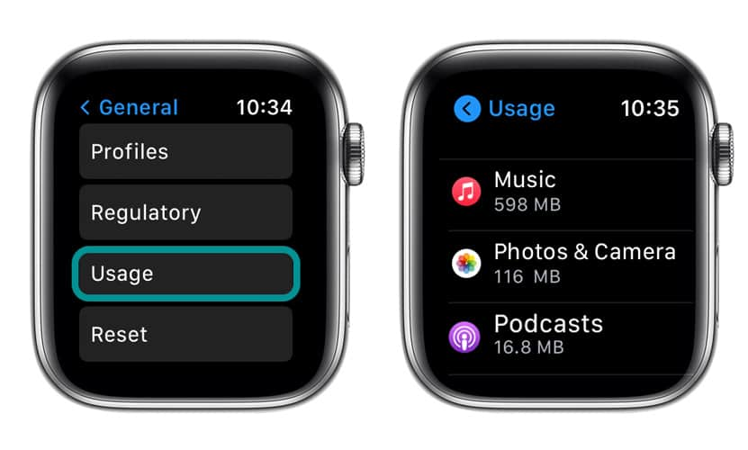 storage usage on Apple Watch