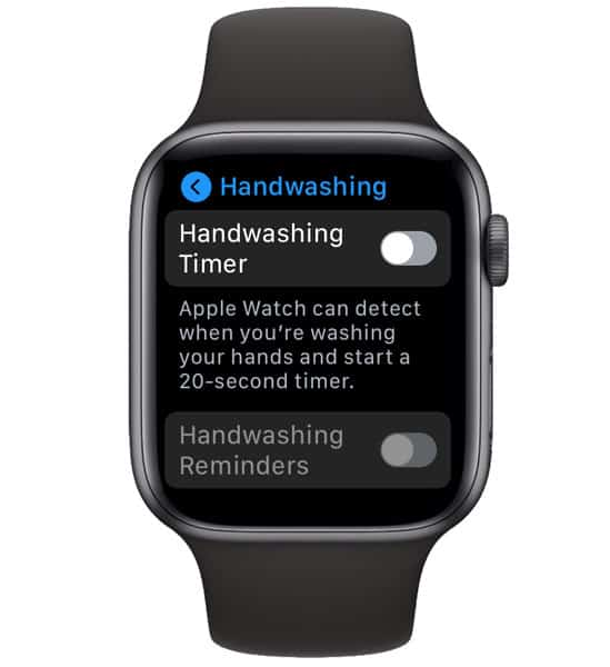hand washing reminders and timers on apple watch settings