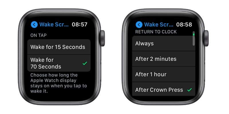 apple watch settings for tapping on screen to wake screen