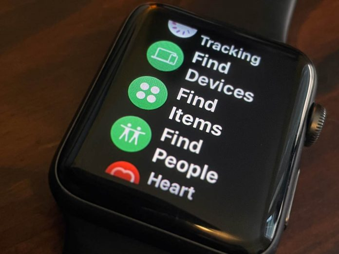 FInd Items app in Find My for Apple Watch