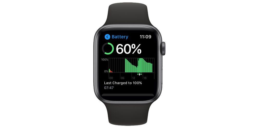 battery percentage on apple watch in settings