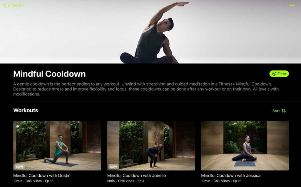 Cooldown mindfully with Apple Fitness+