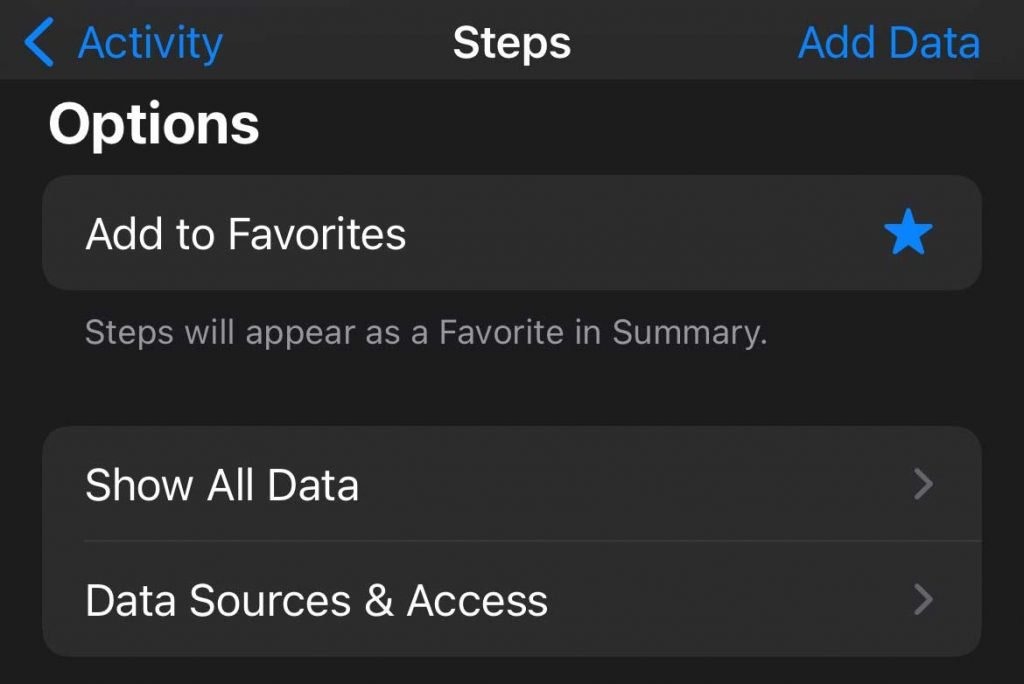 Data Sources and Access in Apple Health app for Step count
