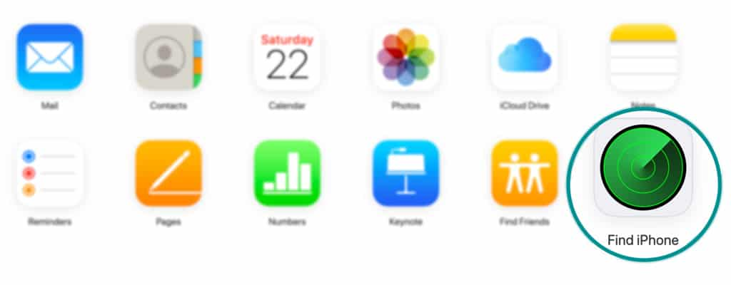 Find iPhone app on Apple's iCloud website