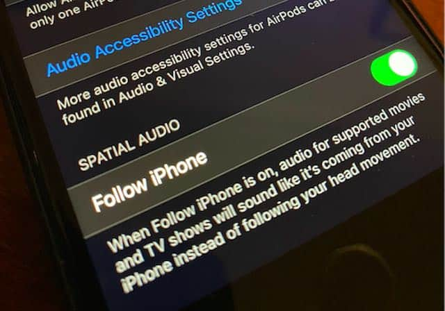 Apple Spatial Audio settings for AirPods