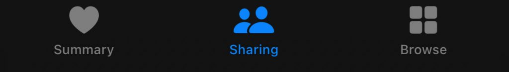 Sharing tab in the Apple Health app on iPhone
