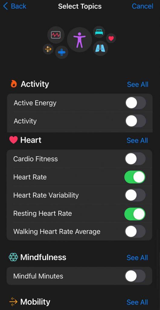Apple Health app sharing topics