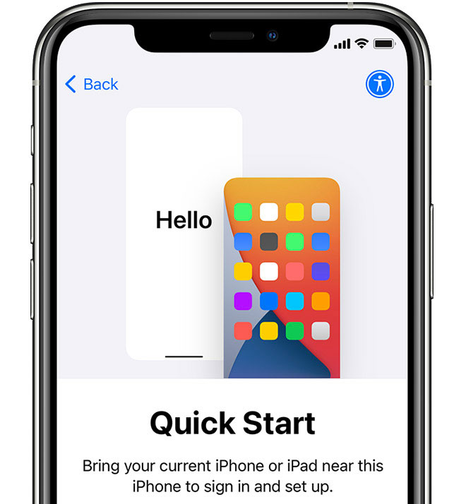 Quick start automatic setup for iPhone