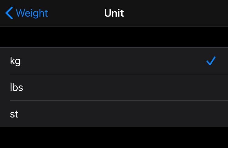 apple iPhone health app weight measurement format