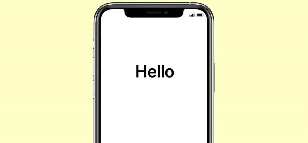 iPhone hello welcome screen