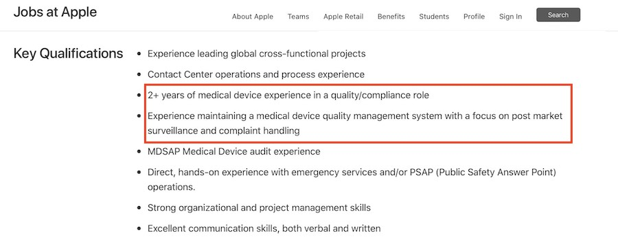 Apple medical device roles