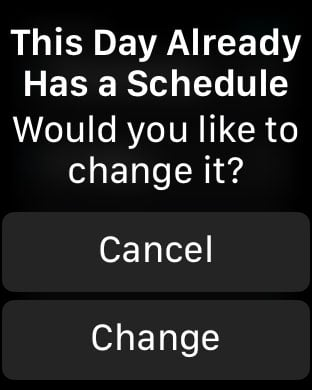 change or cancel message in Apple Sleep app for scheduled days