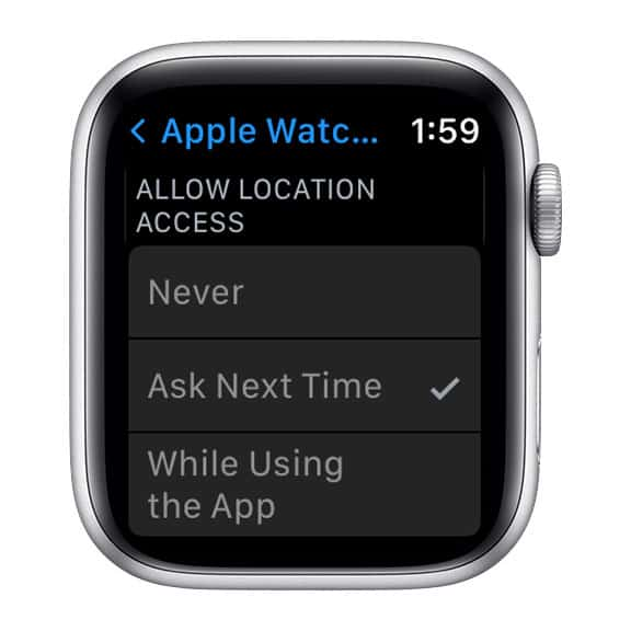 location access stuck on ask next time apple watch