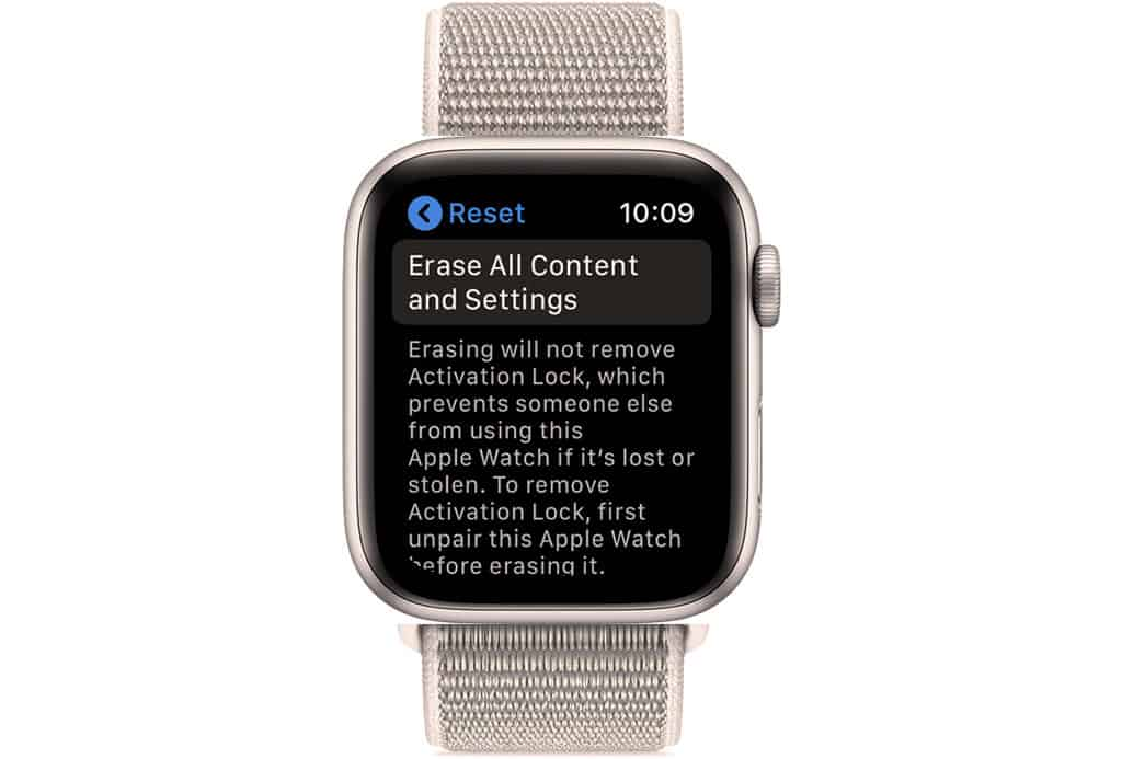 erase all content and settings on apple watch