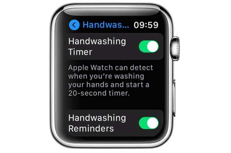 hand washing timer and reminder for apple watch