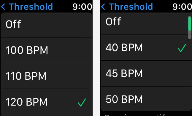 thresholds for high and low heart rate on Apple Watch