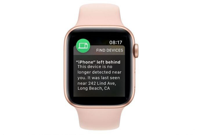 Find My app Notify When Left Behind notification for iPhone on Apple Watch