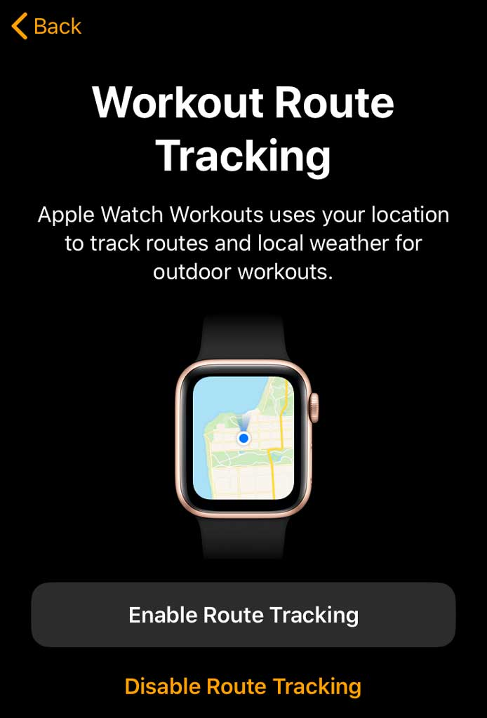 Pair apple watch with route tracking enabled or disabled