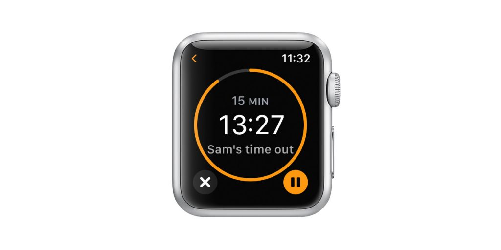 Apple watch active timer details with stop and pause options
