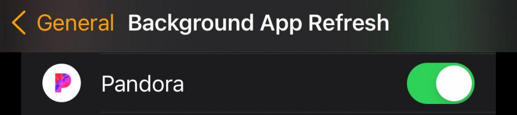 Pandora for apple watch background app refresh setting