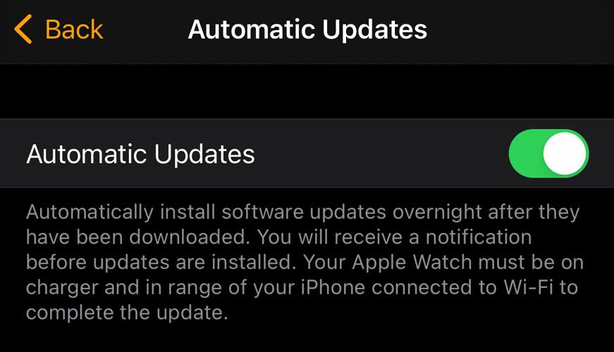 Apple Watch automatic updates in Watch app