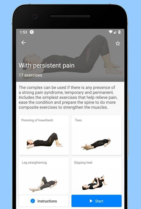 Back pain relief exercises app