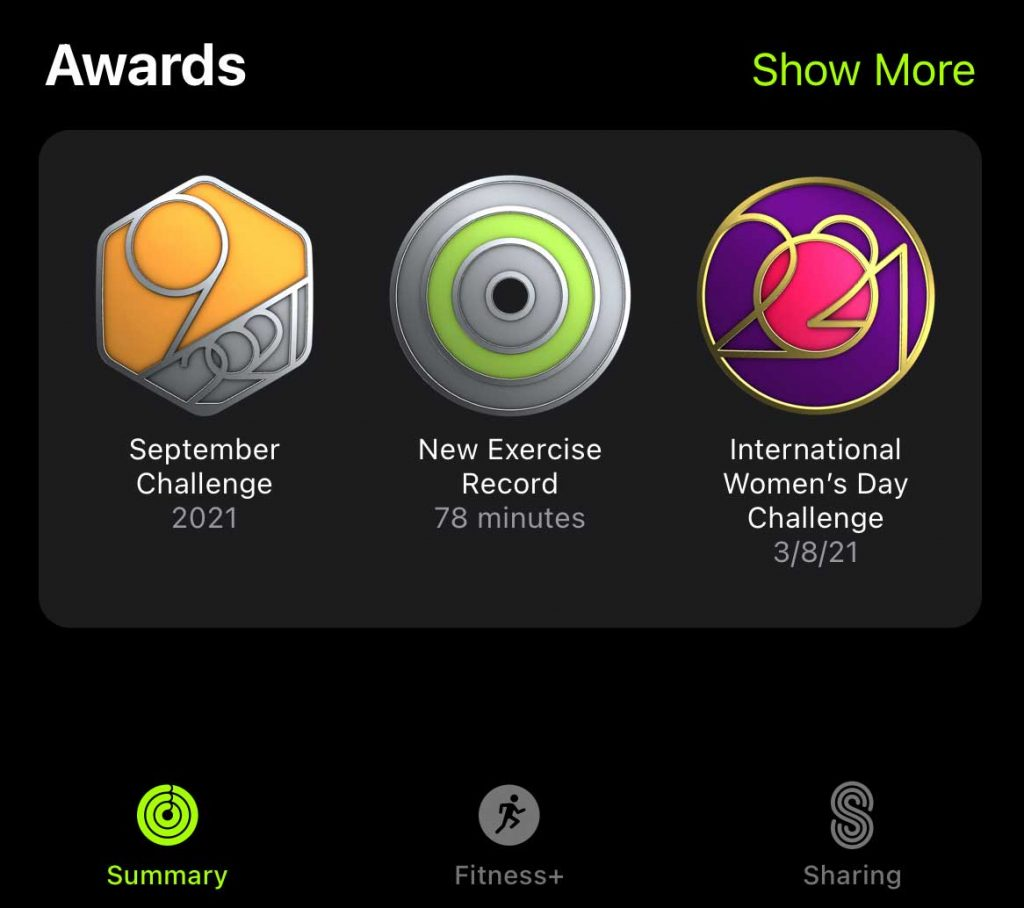 achievements for activity on iPhone in Fitness app