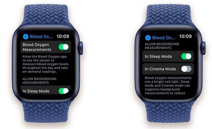 settings for blood oxygen app on apple watch