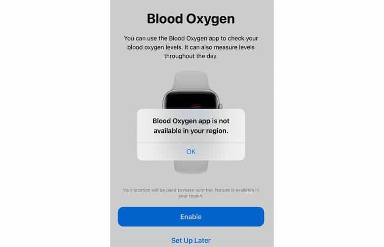 Apple watch blood oxygen app not available in your country and region
