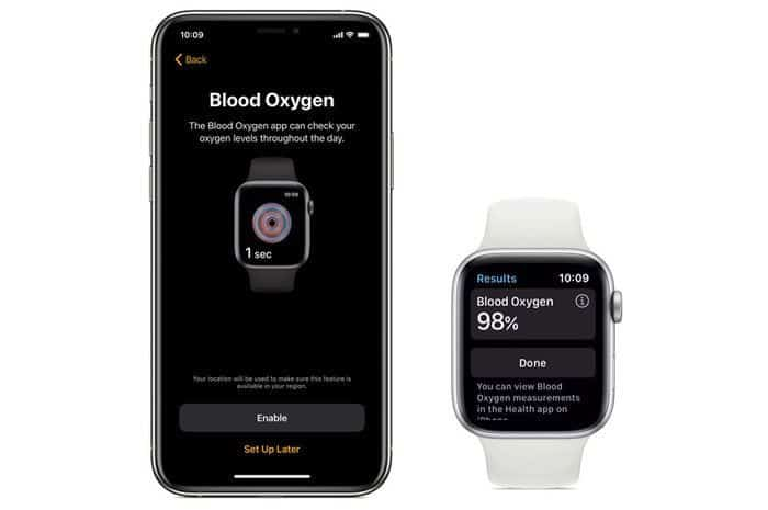 Apple's Blood Oxygen app with iPhone health app and apple watch