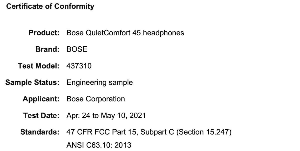 Bose QC 45 Headphones