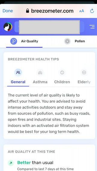 Breezometer recommendations