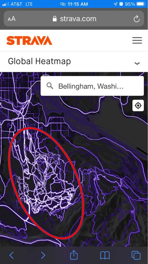 hot and bright areas on strava heat map on mobile