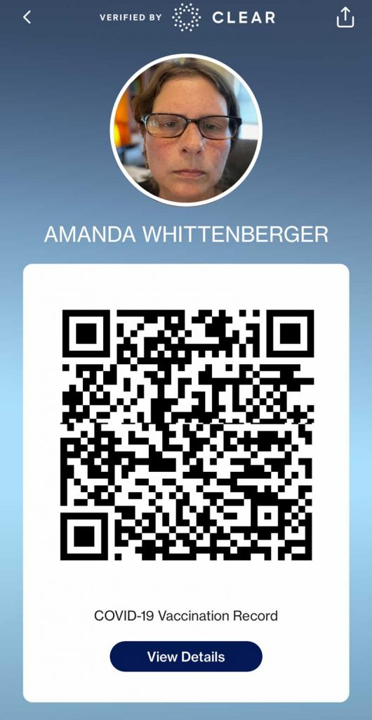 digital covid vaccine pass QR code in the CLEAR app