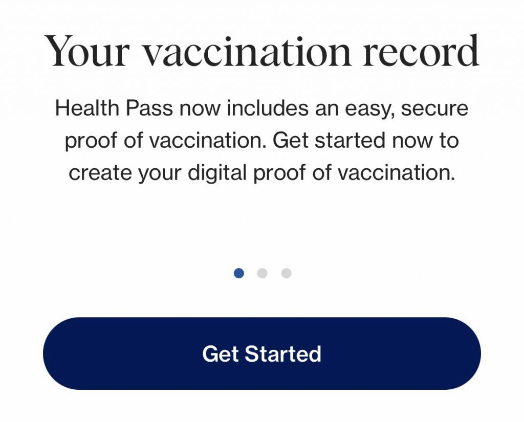 CLEARv app GET STARTED button to add your covid vaccine card to the app