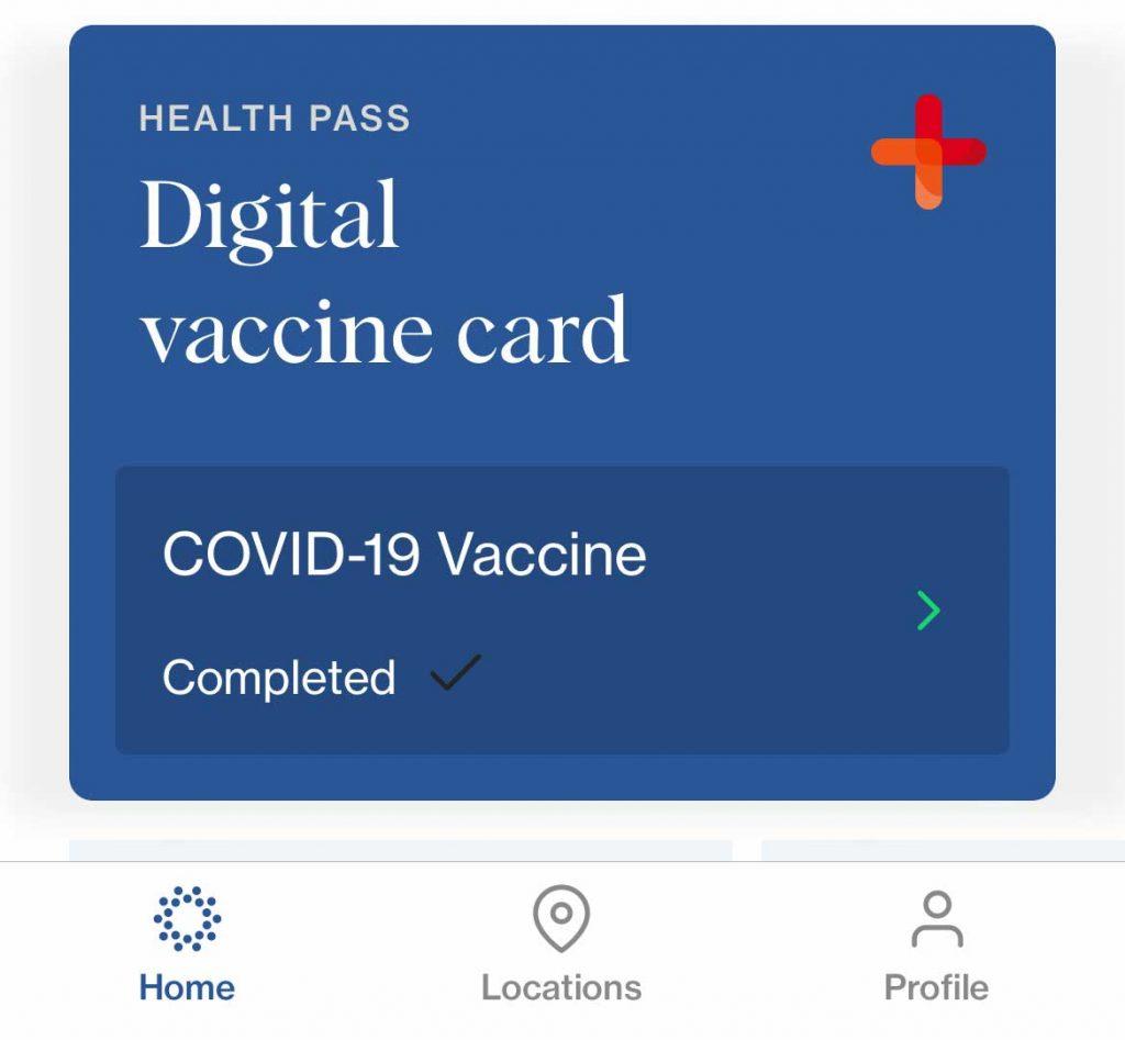 covid 19 digital covid vaccine card in the CLEAR app
