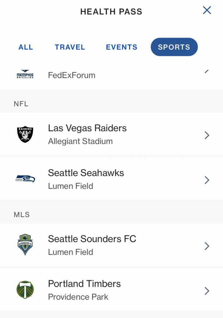 Sports venues using CLEAR app Health Pass