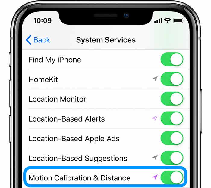 iPhone motion system settings calibration