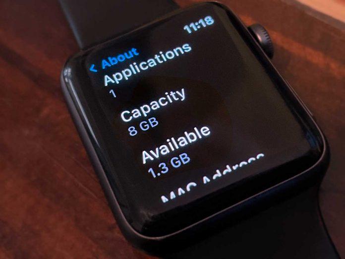 apple watch storage capacity in Settings app on watch