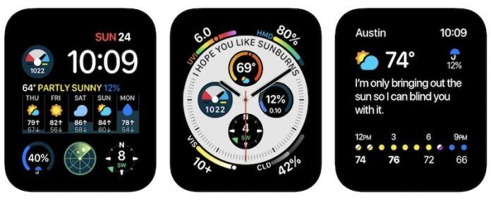 Carrot weather apple watch new design