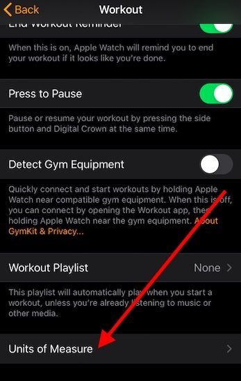 Change Apple Watch unit of Measure in iOS 14
