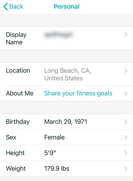 Fitbit app change your personal information