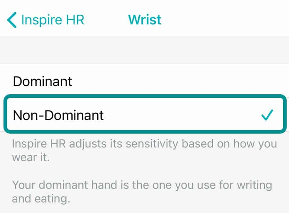 Set fitbit to non dominant hand in Fitbit app