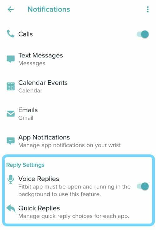 make changes to the default text quick replies in Fitbit app