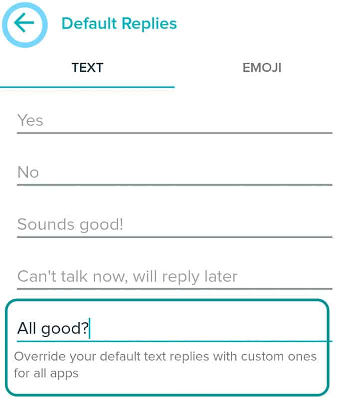 make a custom default reply for Fitbit app quick replies