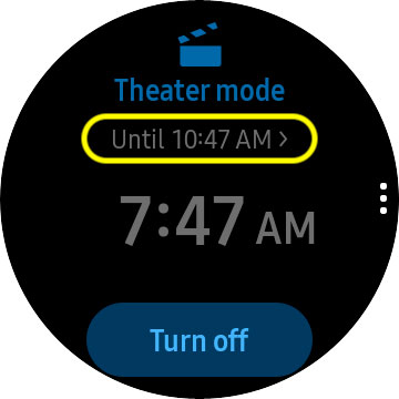 Samsung Galaxy watch change duration of theater mode