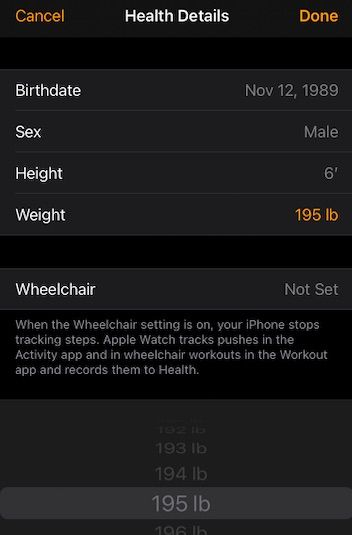 Edit WEIGHT info on iOS 14
