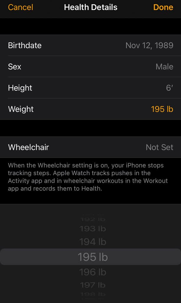 update your weight using the Apple Watch app for iPhone