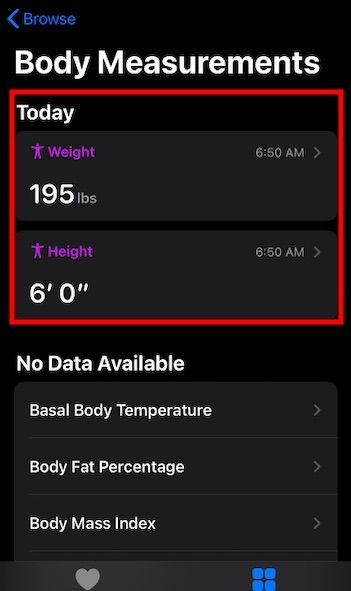 Update Weight info on iPhone for fitness tracking